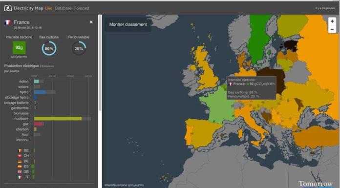 Carte d'électricité: Émissions de CO2 et consommation d'électricité en direct