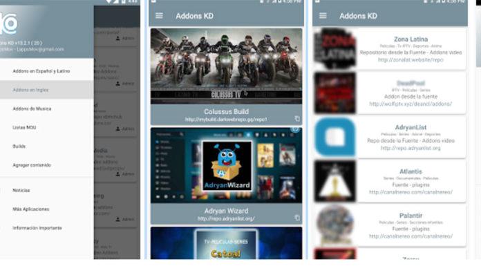 Addons KD : Application Android pour extensions, builds et listes sur kodi.