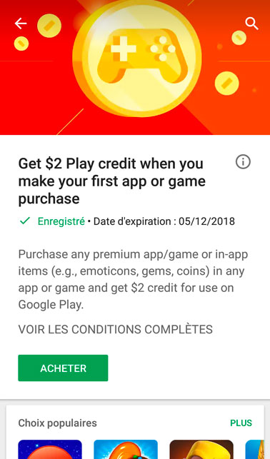 Bons plans Google Play