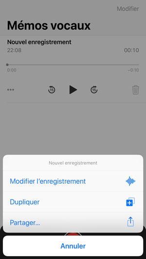 Utilisation de l'app Dictaphone