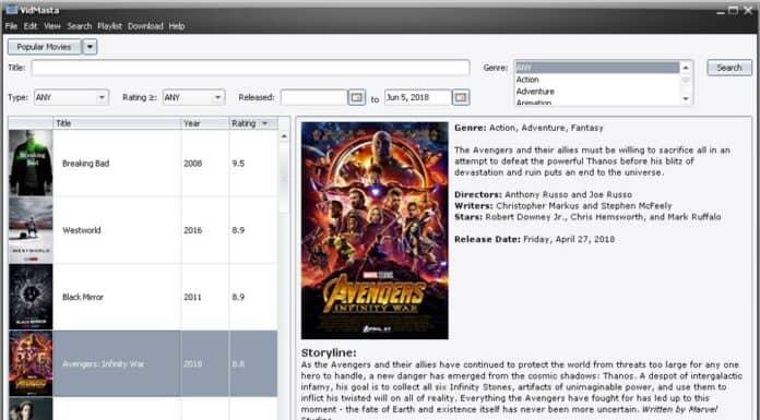 Rechercher et télécharger des films et séries avec Vidmasta